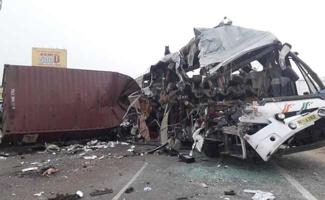 Bus-Container Lorry Collision In Tamil Nadu