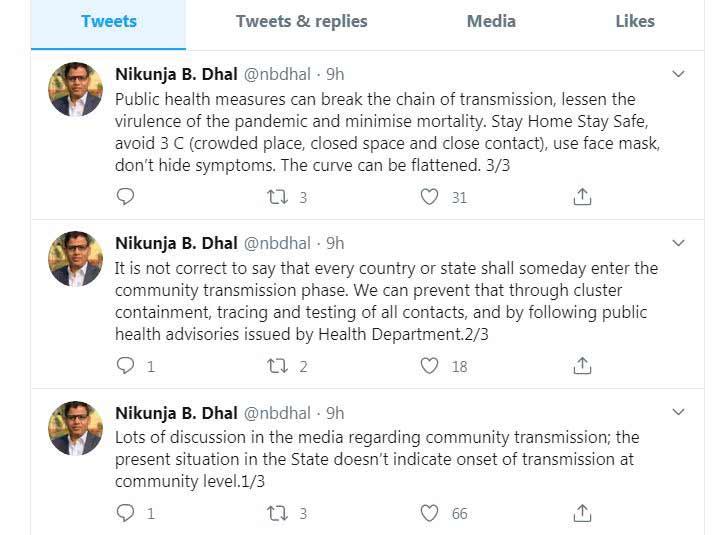 Principal health Secretary on community transmission