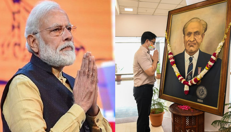 Modi Rijeju pay tributes to Dhyan Chand