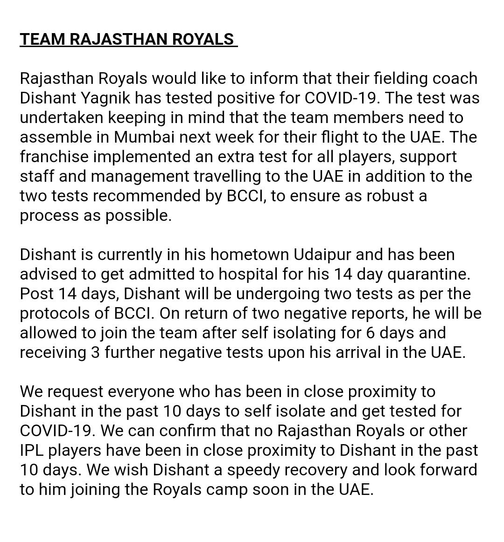 Rajasthan Royals Statement
