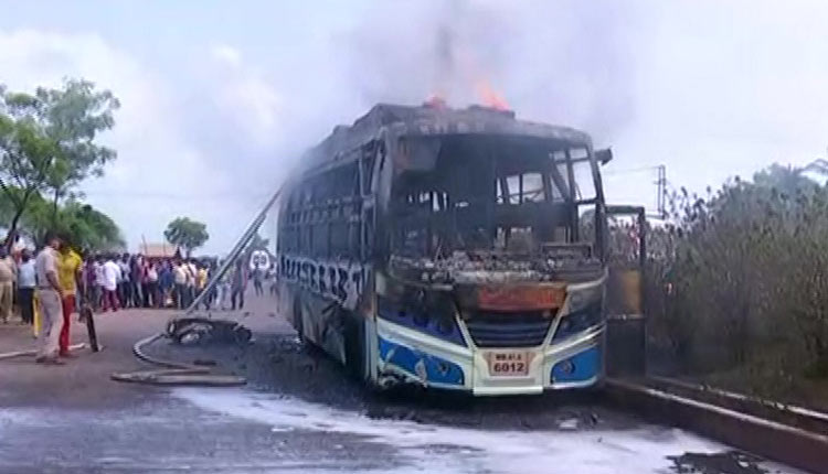 Odisha: Mob Sets Bus On Fire In Kendrapara After It Runs Over Biker