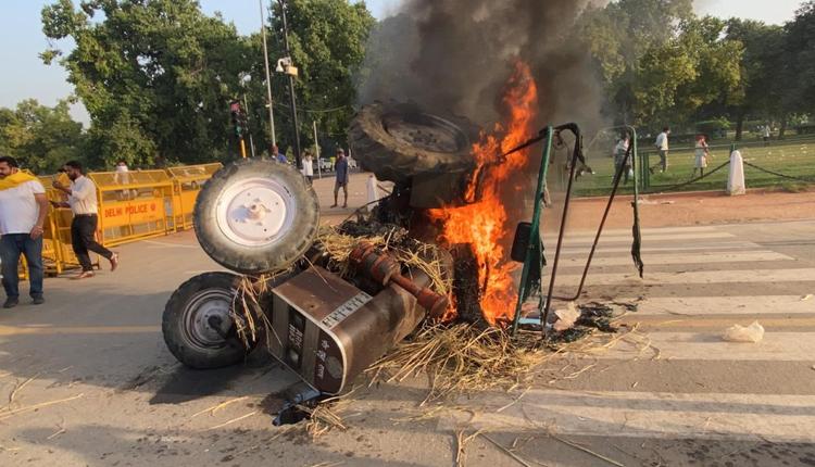 Tractor-Set-Ablaze