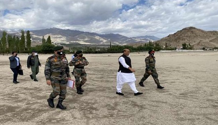 Defence Minister Rajnath Singh Visits Forward Areas At LAC With Army Chief Naravane