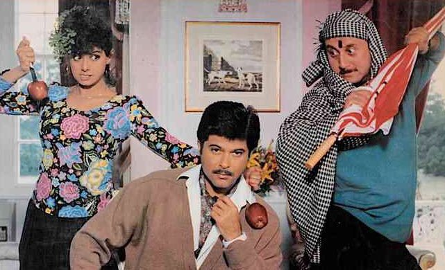 Anupam Kher, Sridevi and Anil Kapoor in Lamhe