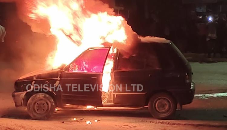 Watch: Moving Car Catches Fire In Bargarh, Close Shave For Driver
