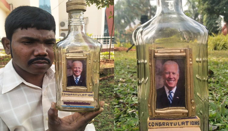 Artist from Odisha, L Eswar Rao crafts miniature photo frame of Joe Biden using small pieces of stones inside a glass bottle to congratulate him ahead of his swearing-in