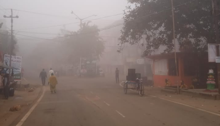 fog engulfed several parts of Bhubaneswar today morning