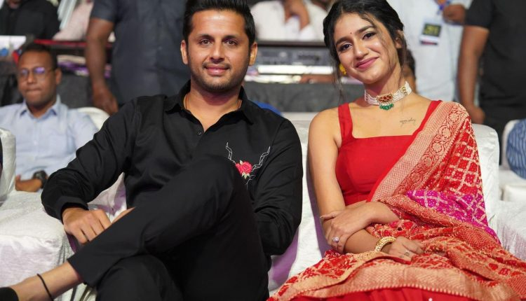 Nithiin and Priya Prakash Varrier During Check Promotions