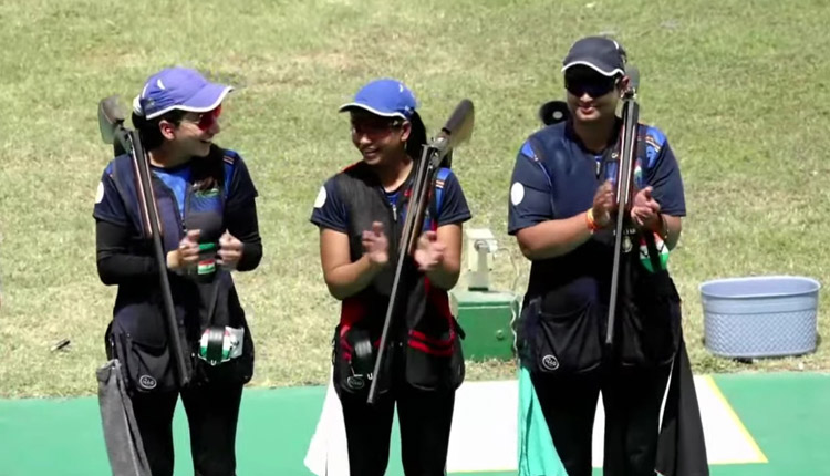 Rajeshwari Kumari, Manisha Keer and Shreyasi Singh won gold medal in the women's Trap Team event at the Shooting World Cup in Delhi.