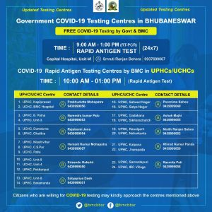 Govt. COVID-19 Testing Centres in Bhubaneswar