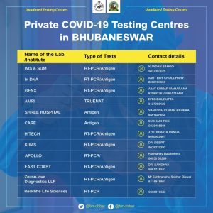 Private COVID-19 Testing Centres in Bhubaneswar