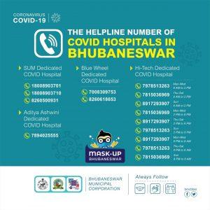 Helpline Number of COVID Hospitals in Bhubaneswar